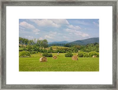 Hay Bales In Farm Field Framed Print by Kim Hojnacki