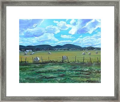 Hay Bales Framed Print by Melissa Torres
