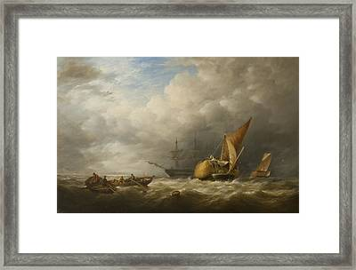 Hay Barges In The Thames Estuary Framed Print by Alfred Herbert