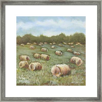 Haybales In The Field Framed Print by Vic  Mastis