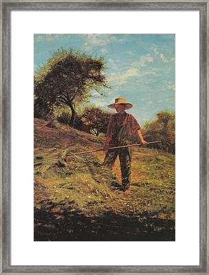 Haymaking Framed Print by Winslow Homer