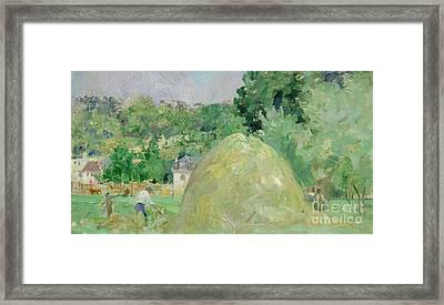 Haystacks At Bougival Framed Print by Berthe Morisot