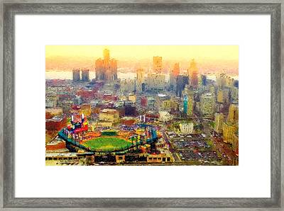 Haze Over Comerica Framed Print by John Farr