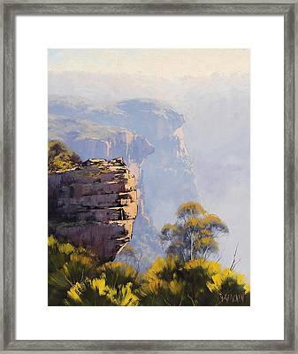 Hazy Cliff-scape Katoomba Framed Print by Graham Gercken