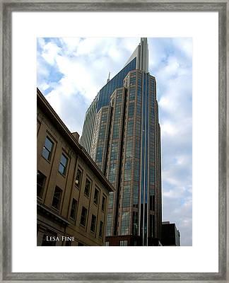 Hdr Att Building Aka Batman Building Nashville Tn Framed Print by Lesa Fine