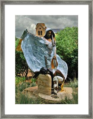 He Who Fights With A Feather Statute In Santa Fe Framed Print by Ginger Wakem