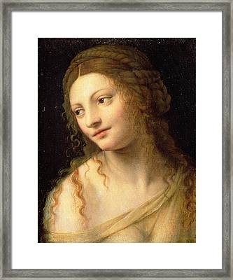 Head And Shoulders Of A Young Woman Framed Print by Bernardino Luini