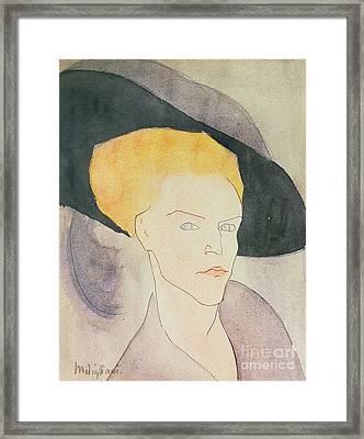 Head Of A Woman Wearing A Hat Framed Print by Amedeo Modigliani