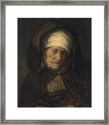 Head Of An Aged Woman Framed Print by Rembrandt