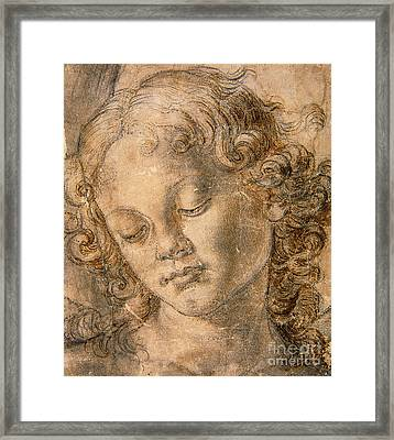 Head Of An Angel Framed Print by Andrea del Verrocchio