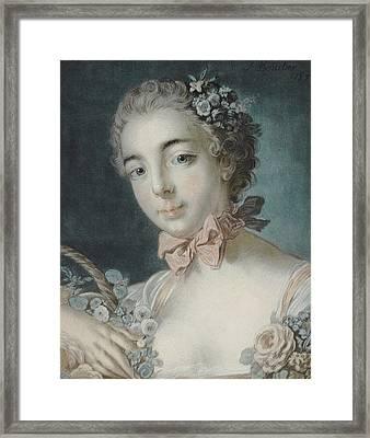 Head Of Flora Framed Print by Francois Boucher