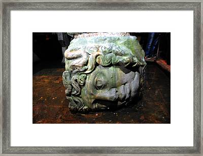 Head Of Medussa In Basilica Cistern Framed Print by Jacqueline M Lewis