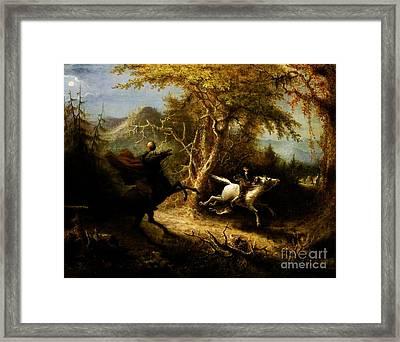 Headless Horseman Pursuing Ichabod Crane Framed Print by Pg Reproductions