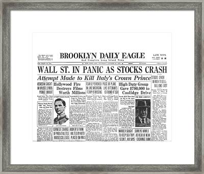 Headlines For Wall St. Crash Framed Print by Underwood Archives