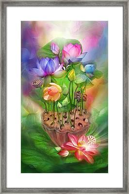Healing Lotus - Chakras Framed Print by Carol Cavalaris