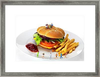 Healthy Life Versus Foodie Life Miniature Art Framed Print by Paul Ge