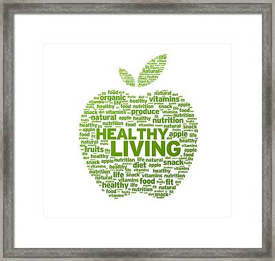 Healthy Living Apple Illustration Framed Print by Aged Pixel