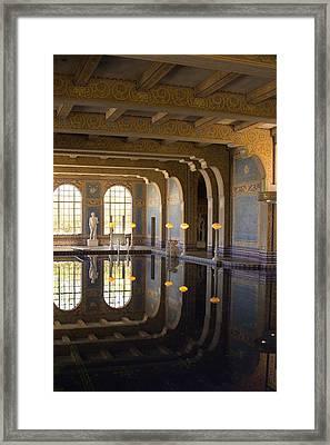 Hearst Castle Roman Pool Reflection Framed Print by Heidi Smith