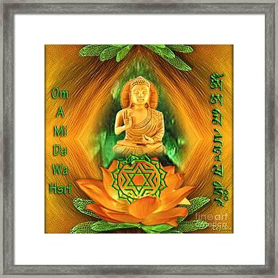Heart Chakra And Mantra - Spirituality Art By Giada Rossi Framed Print by Giada Rossi