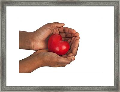 Heart In Hands Framed Print by Chevy Fleet