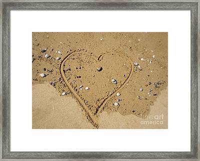 Heart In Sand With Shells Framed Print by Loriannah Hespe
