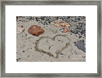 Heart In Sand Framed Print featuring the photograph Heart In The Sand by Karin Pinkham