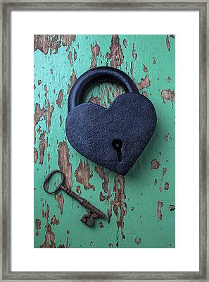 Heart Lock And Key Framed Print by Garry Gay