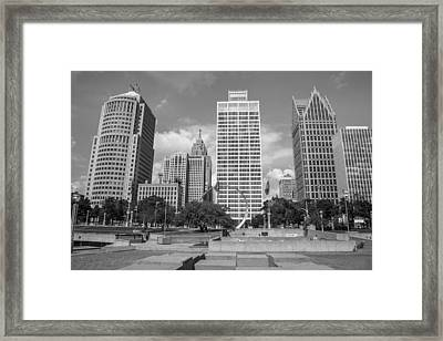 Heart Plaza In Detroit In Black And White  Framed Print by John McGraw