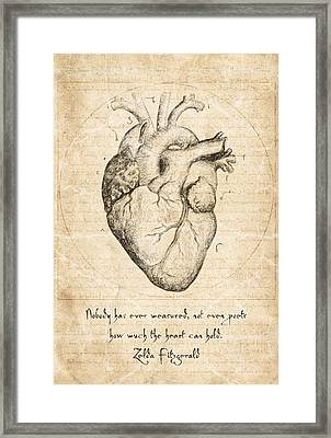 Heart Quote By Zelda Fitzgerald Framed Print by Taylan Soyturk