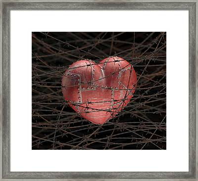 Heart With Barbed Wire Framed Print by Ktsdesign