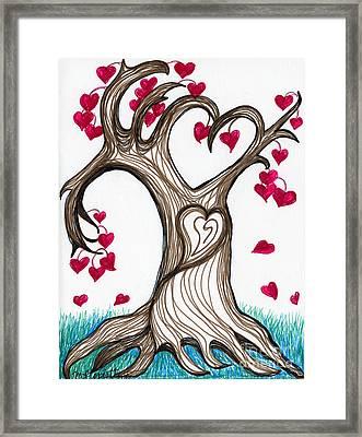 Heartful Tree 4 You Framed Print by Minnie Lippiatt