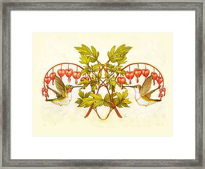 Hearts And Hummingbirds Framed Print by Catherine Noel
