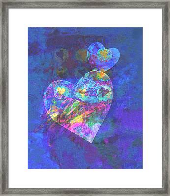 Hearts On Blue Framed Print by Ann Powell