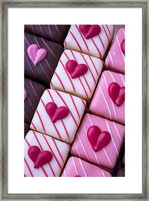Hearts On Candy Framed Print by Garry Gay