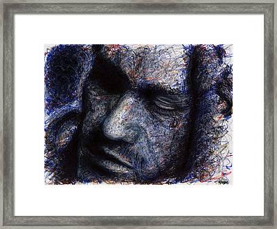 Heath Ledger - Blue Framed Print by Rachel Scott