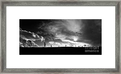 Heathland Sunset Framed Print by Ron Evans