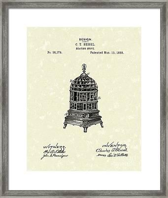 Heating Stove 1888 Patent Art Framed Print by Prior Art Design
