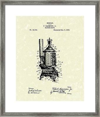 Heating Stove 1895 Patent Art Framed Print by Prior Art Design