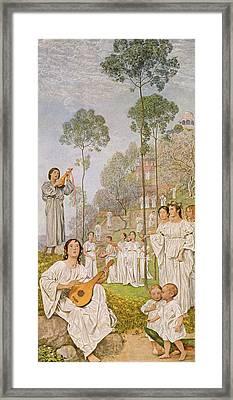 Heaven Framed Print by Hans Thoma
