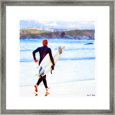 Heaven Is On A Wave - Surfer At Newquay Framed Print by Mark E Tisdale