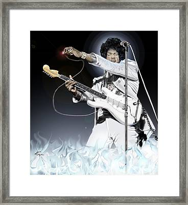 Heavens Fire - The Jimi Hendrix Series  Framed Print by Reggie Duffie