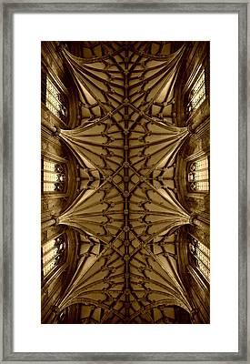 Heavenward -- Winchester Cathedral Ceiling In Sepia Framed Print by Stephen Stookey