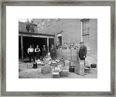 Heavily Armed Feds Seize Liquor Cache 1922 Framed Print by Daniel Hagerman
