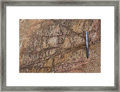Heavily Jointed Gneiss Outcrop Framed Print by Science Photo Library
