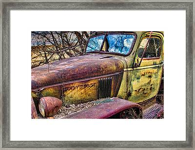 Hedge Row Chevy Truck Framed Print by Steven Bateson
