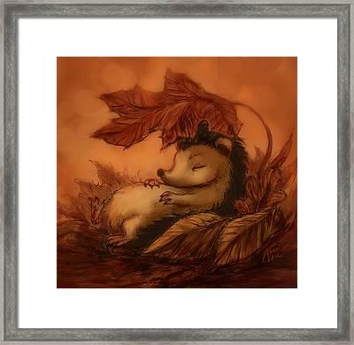 Hedgehog Under Leaves Framed Print by Katerina Romanova