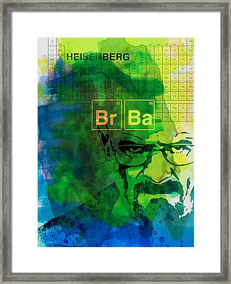 Heisenberg Watercolor Framed Print by Naxart Studio