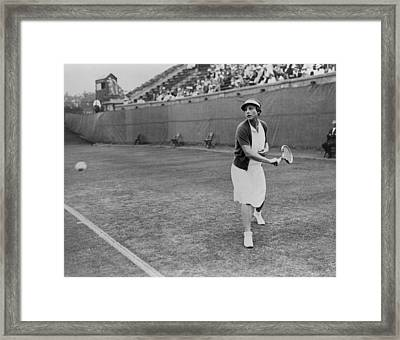 Helen Wills Playing Tennis At Forest Framed Print by Everett