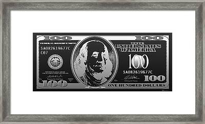 Hello Benjamin - Silver One Hundred Dollar Us Bill On Black Framed Print by Serge Averbukh