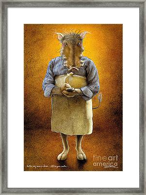 Hello My Name Is Ivan I Will Be Your Waiter Framed Print by Will Bullas